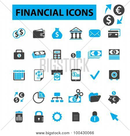 Financial icons concept. Money, finance icons, investment, banking, bank icon, business, financial logo. Vector illustration set