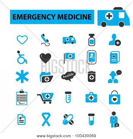 Emergency medicine icons concept. Medical icons, health care, hospital, emergency room, emergency services, emergency department, trauma. Vector illustration set