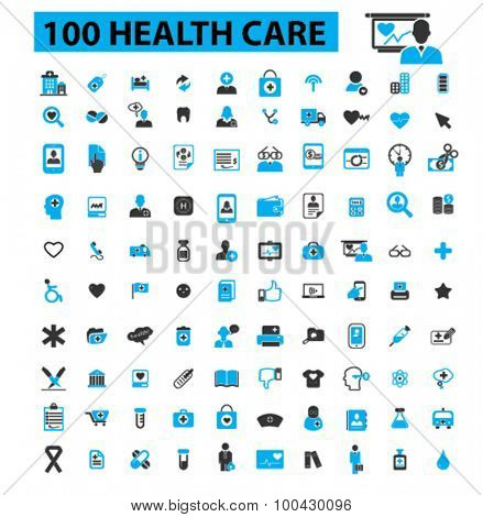 100 health care icons concept. Medicine, medical, hospital, doctor, healthcare, health icons. Vector illustration set