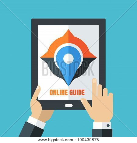 Mens Hand Holding Tablet. Flat Illustration Of Mobile Phone, Compass And Waypoint Map Symbol.