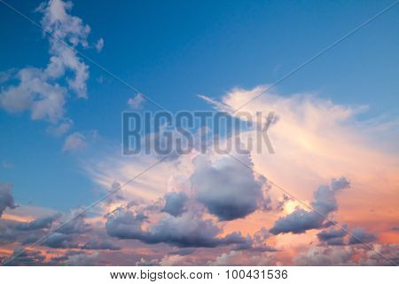 Cloudscape, Summer Evening Sky Background