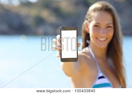 Sunbather Showing Blank Phone Screen On The Beach