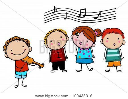 Illustration of group of cute children singing