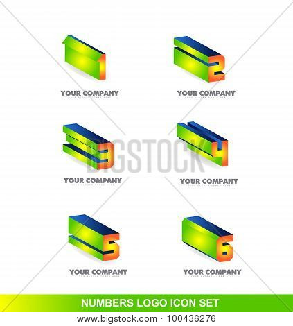 Numbers 3D Logo Icon Set