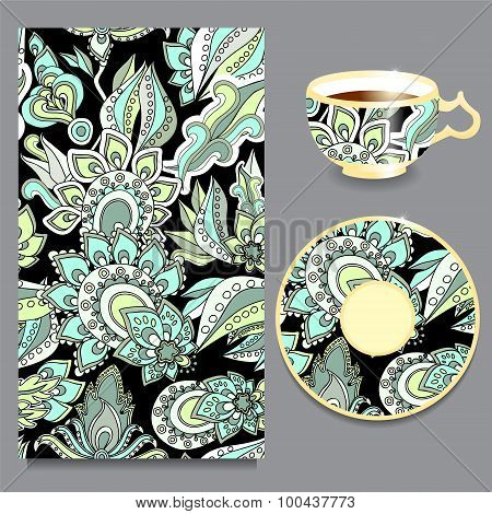 Vector Seamless Floral Russian Or Slavs Pattern With Cup And Plate. Stock