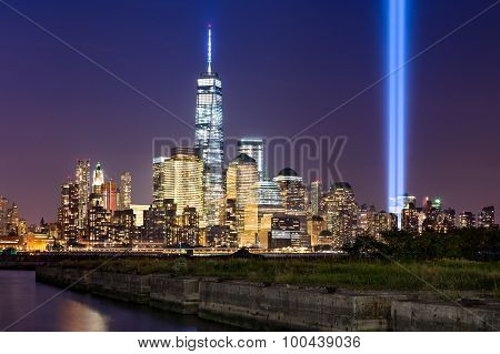 Tribute In Light Over Lower Manhattan, New York City
