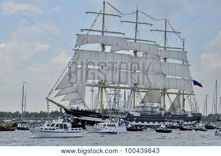 The Kruzenshtern Tall Ship On The Ij River