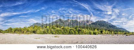 Banks River Isar And Karwendel Mountains
