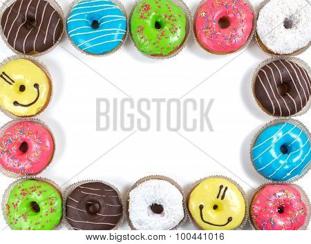 Assorted Glazed Doughnuts In Different Colors