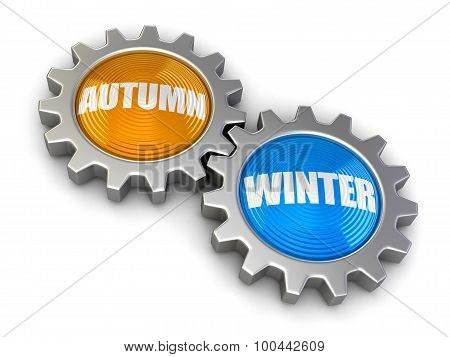 Gears with Autumn and Winter (clipping path included)