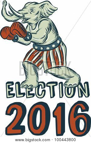 Etching engraving handmade style illustration of an American Republican GOP elephant boxer mascot boxing with boxing gloves wearing USA stars and stripes flag shorts viewed from side with words Election 2016 poster