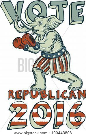 Etching engraving handmade style illustration of an American Republican GOP elephant boxer mascot boxing with boxing gloves wearing USA stars and stripes flag shorts viewed from side set on isolated white background with words Vote Republican 2016. poster