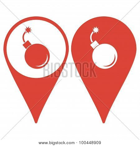 Map pointer. bomb icon. Flat design style eps 10 poster