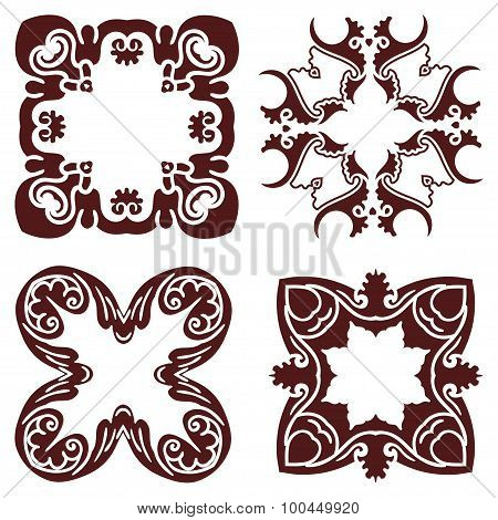 Set Hand Drawing Decorative Frame, Silhouette In Marsala Color. Italian Majolica Style