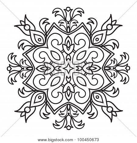 Hand Drawing Zentangle Mandala Element. Italian Majolica Style