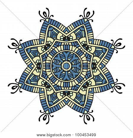 Blue And Yellow Floral Mandala