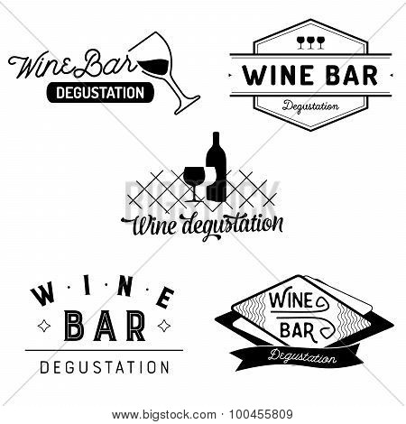 Set of typography wine bar and degustation badges with glasses and bottles. Vector labels isolated o