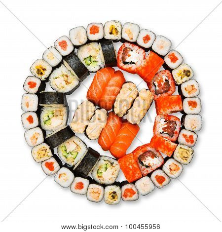 Set Of Sushi, Maki, Gunkan And Rolls Isolated At White