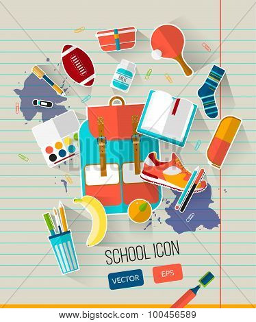 School illustration with school objects.