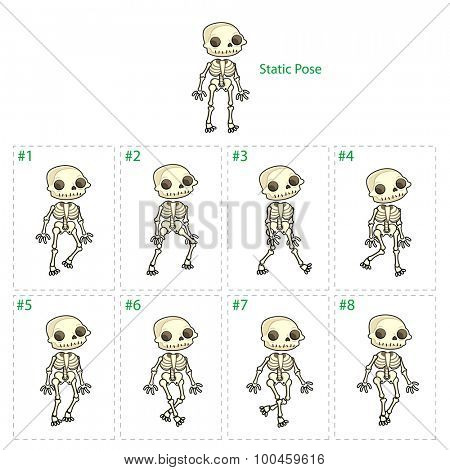 Animation of skeleton walking. Eight walking frames + 1 static pose. Vector cartoon isolated character/frames.
