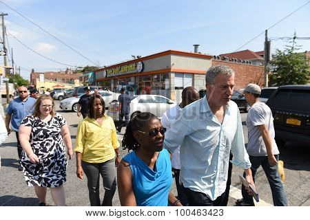Mayor & first lady arrive in East Flatbush