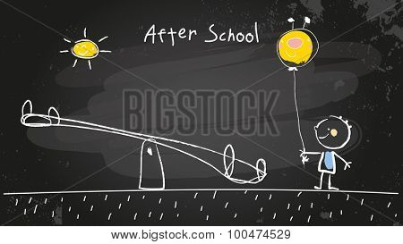After school activities, kid at playground with balloon. Vector concept chalk doodle on chalkboard, hand drawn illustration.