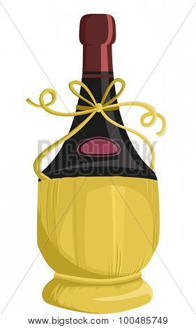 Illustration of a Bottle of Wine Packaged in a Fiasco Basket