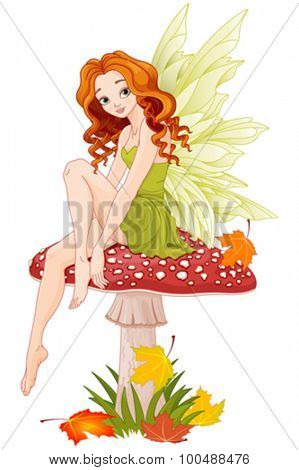 Illustration of cute fairy sits on fly agaric