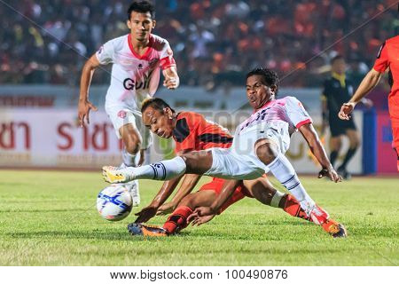 Sisaket Thailand-march 7: Guy Hubert Of Saraburi Fc (white) In Action During Thai Premier League Bet