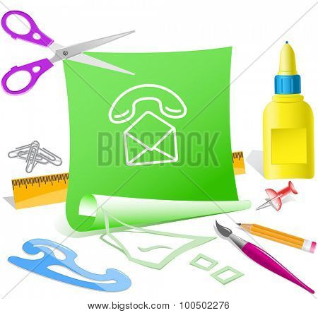 open mail with handset. Paper template. Vector illustration.