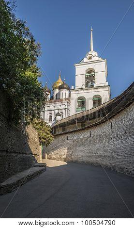 The City Of Pskov. Russia. Pskov Kremlin. Holy Trinity Cathedral. poster