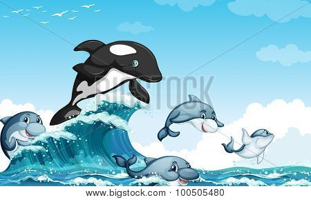 Dolphins swimming in the ocean illustration