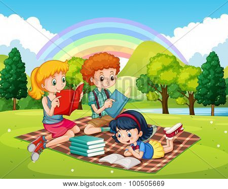 Children reading books in the park illustration