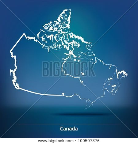 Doodle Map of Canada - vector illustration
