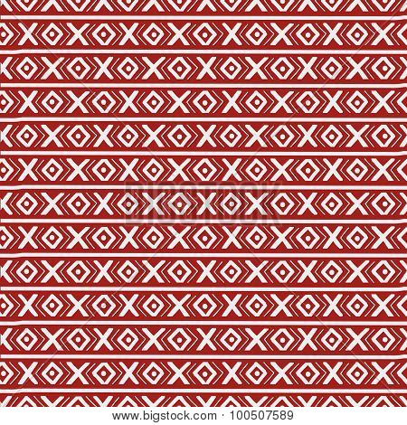 Red Ethnic Russian Seamless Pattern