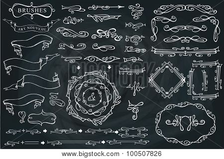 Swirling calligraphic brushes,ribbons,Curled decor set.Chalkboar