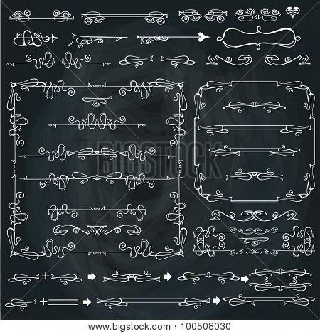 Swirling calligraphic borders,frames,Curled decor set.Chalkboard