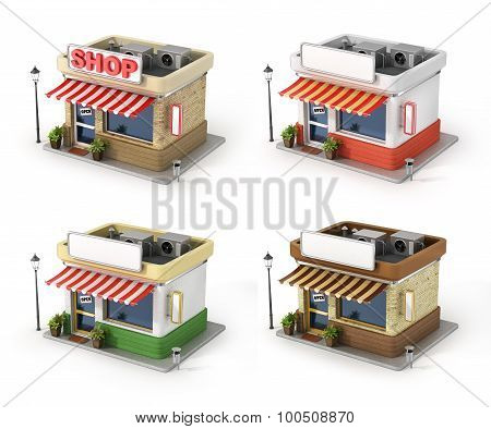 Set Of Shops. Store With Copy Space Board.