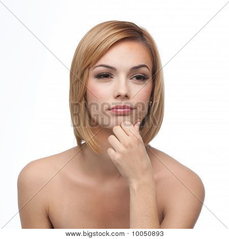 Young Woman, Thinking, With A Smile
