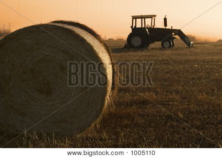 Tractor And Bale Of Hay