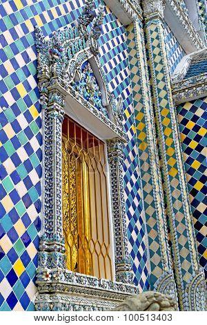 Window   In  Gold    Temple    Bangkok  Grate Blue