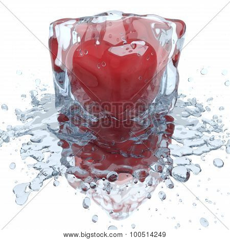 Heart Inside The Ice Cube