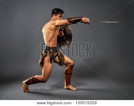 Ancient Warrior. Blow With A Sword