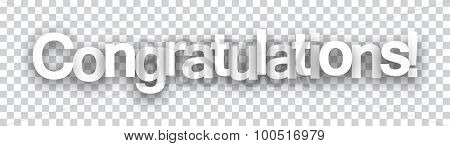 Congratulations paper sign over cells. Vector illustration.