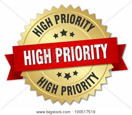 High Priority 3D Gold Badge With Red Ribbon