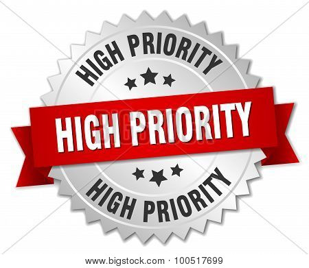 High Priority 3D Silver Badge With Red Ribbon