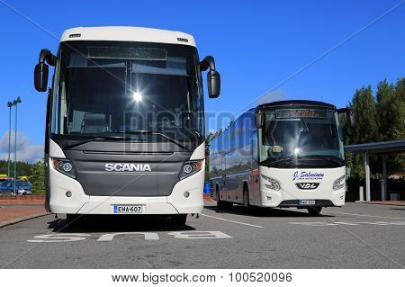 White Scania Touring And Vdl Futura Coach Buses