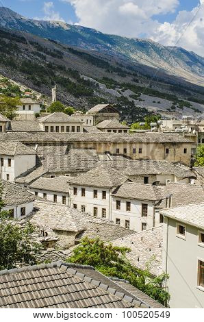 View at beautiful old city of Gjirokastra in Albania poster