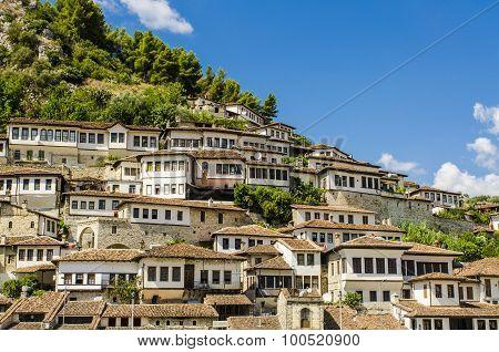 View at beautiful old city of Berat in Albania poster