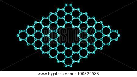 Graphene molecular structure with a pore isolated on black
